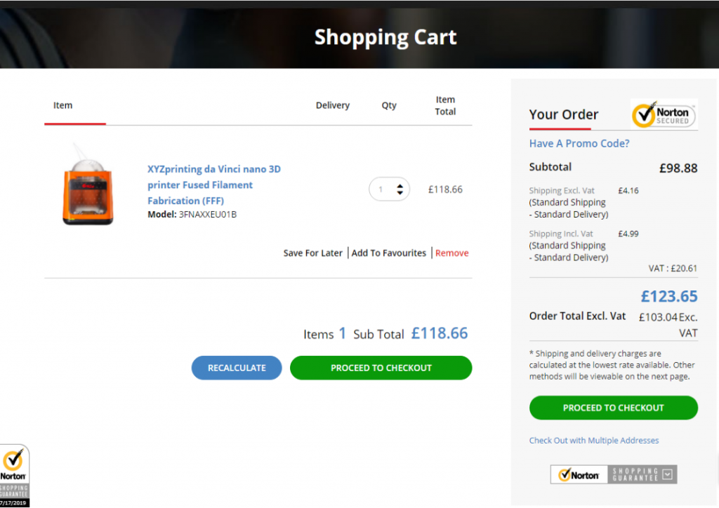 XYZ printing da Vinci FFF 3D printer in shopping cart screenshot
