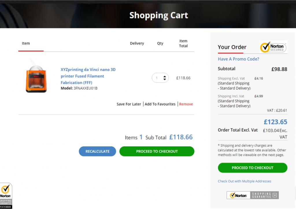 XYZ printing da Vinci FFF 3D printer in shopping cart screenshot