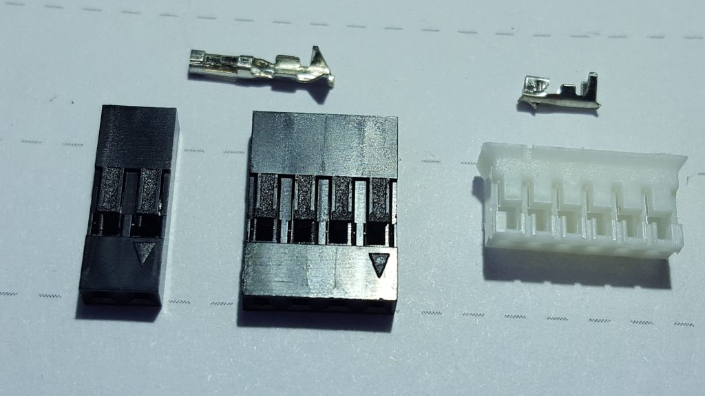 LEFT: 2&4way Mini PV (Dupont) with a 2.54mm pitch, RIGHT:  6 way female JST PH 2.0mm